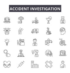 Accident investigation line icons editable stroke vector