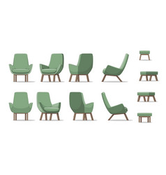 An armchair in different perspectives vector