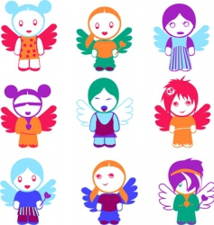 Angel dolls vector