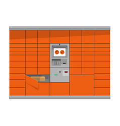 Automated parcel locker with terminal and mailbox vector