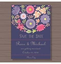 Autumn wedding invitation blue vitage on wooden vector