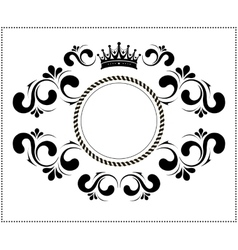 Beautiful calligraphic frame with crown vector