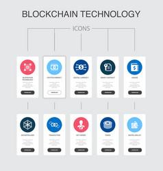 blockchain technology infographic 10 steps ui vector image
