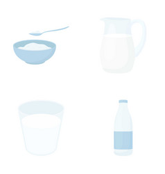 bowl of cottage cheese a glass a bottle of kefir vector image
