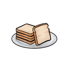 Bread bakery icon sliced fresh wheat nutrition vector