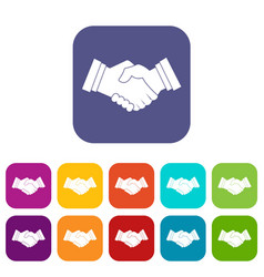 Business handshake icons set flat vector