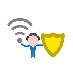businessman character holding wireless wifi and vector image
