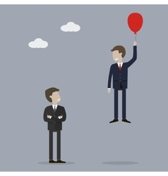 Businessman Takes Off in a Balloon vector image