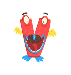 Cartoon character monster letter v vector