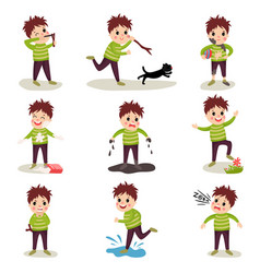 Cartoon character of naughty kid set playing vector