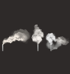 chimneys with smoke pipes with white steam set vector image