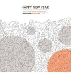Christmas doodle website template design vector