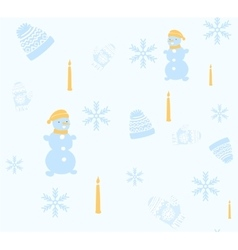 Christmas seamless pattern with snowman cap and vector image