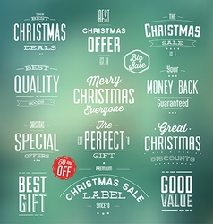 Collection of Typographic Christmas Sale Labels vector image