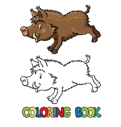 Coloring book of little funny boar or wild pig vector image