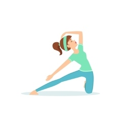 Crescent lunge yoga pose demonstrated by the girl vector