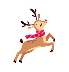 cute christmas fawn jumping with red waving scarf vector image