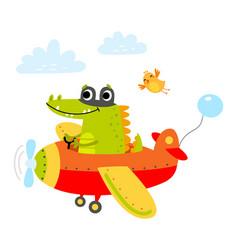 Cute crocodile on a plane vector