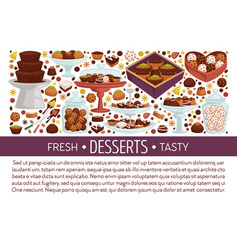 Desserts banner template with assorted truffle vector