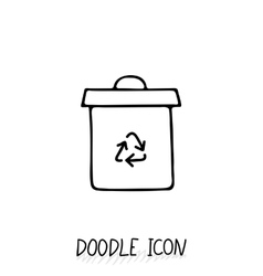 Doodle recycle bin icon trash can vector