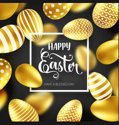 easter golden egg with calligraphic lettering vector image