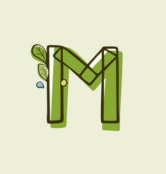 Eco style letter m logo hand-drawn with a marker vector