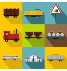 Electrical train icons set flat style vector
