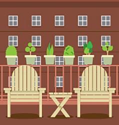 Empty garden chairs at balcony vector