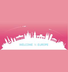 Europe skyline curve landmarks silhouette vector