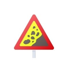 Falling rocks warning traffic sign icon vector image