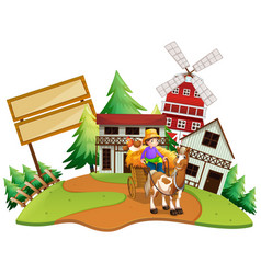 Farmer riding wagon in the farm vector