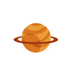 Flat orange planet with ring icon vector