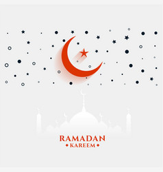 Flat style ramadan kareem greeting with moon vector