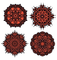 Floral patterns with red and orange flowers vector image
