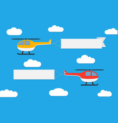 flying helicopters with banners vector image