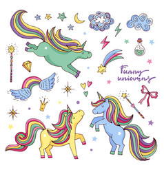 Funny set with rainbow unicorn and other vector