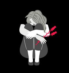 girl with sad mood vector image