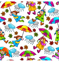 Girl with umbrellas vector