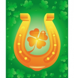 golden horseshoe with leaf clover vector image