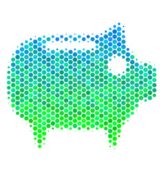 Halftone blue-green piggy bank icon vector