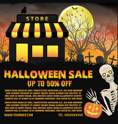 halloween shop sale with graveyard background vector image