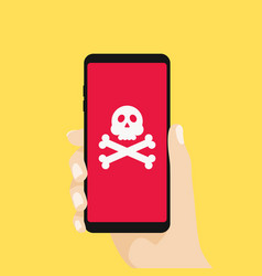 Hand holding smartphone with skull sign vector