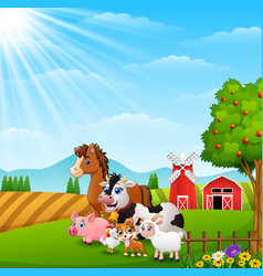 Happy animals at farm background on daylight vector