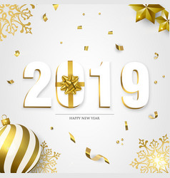 Happy new year 2019 3d holiday ornament card vector