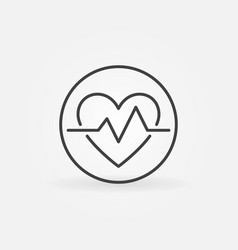 Heartbeat in circle icon in thin line style vector
