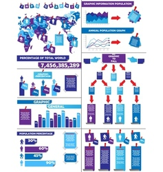 Infographic demographics post it purple vector