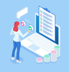 isometric online survey concept hand touching vector image