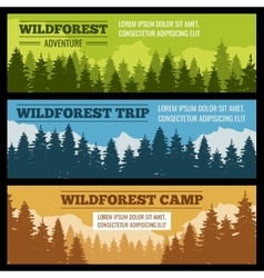 Journey camping banners set with pine tree vector