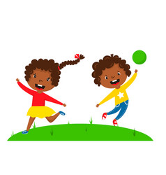 kids play enjoy spring arrival warm summer little vector image