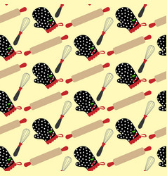 Kitchen stuff and potholder pattern vector